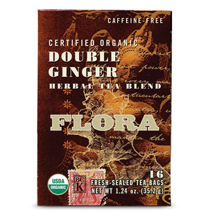 A box of Flora Double Ginger Tea