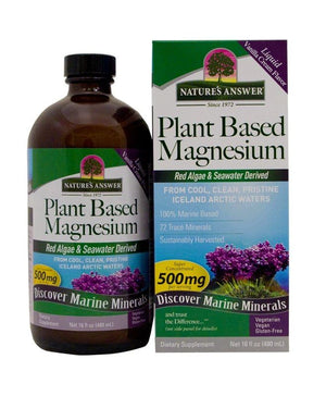 A bottle and package for Nature's Answer Plant Based Magnesium Liquid 500 mg (16 fl oz)