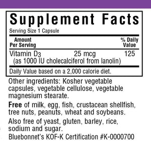 Supplement Facts for Bluebonnet Vitamin D3 1000 IU Capsules