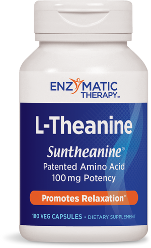 A bottle of Enzymatic Therapy L-Theanine 100 mg