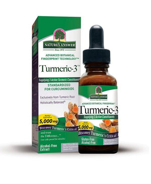 A package and bottle of Nature's Answer Turmeric 3 Liquid 1 Oz