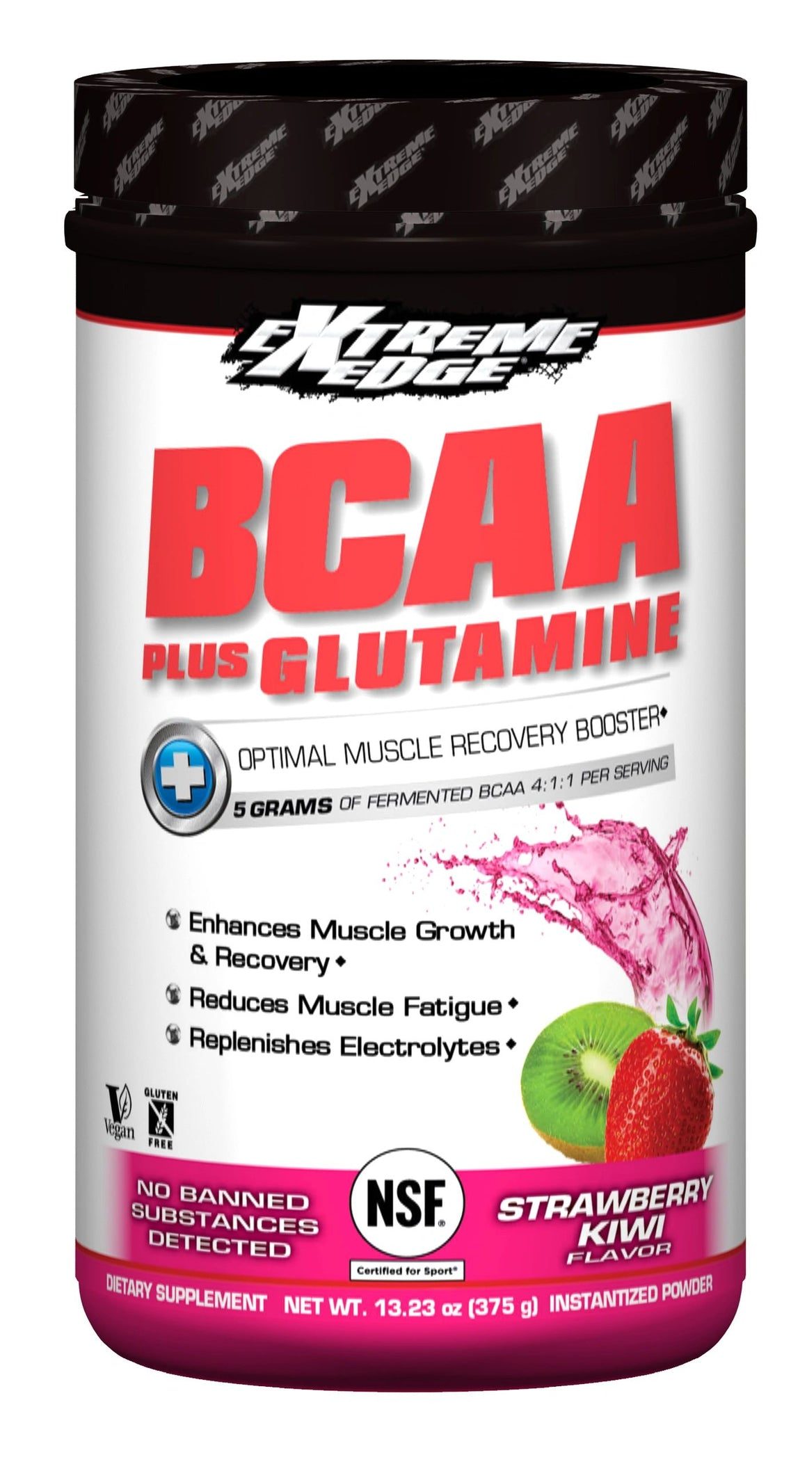 A jar of Bluebonnet Extreme Edge® BCAA plus Glutamine