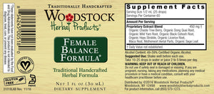 A label with supplemental facts for Woodstock Herbal Products Female Balance Formula