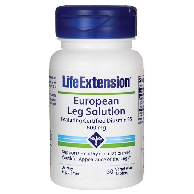 A bottle of Life Extension European Leg Solution featuring Certified Diosmin 95