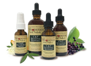 A series of varying sized bottles for Woodstock Herbal Products C & F Seasonal Support 2 oz