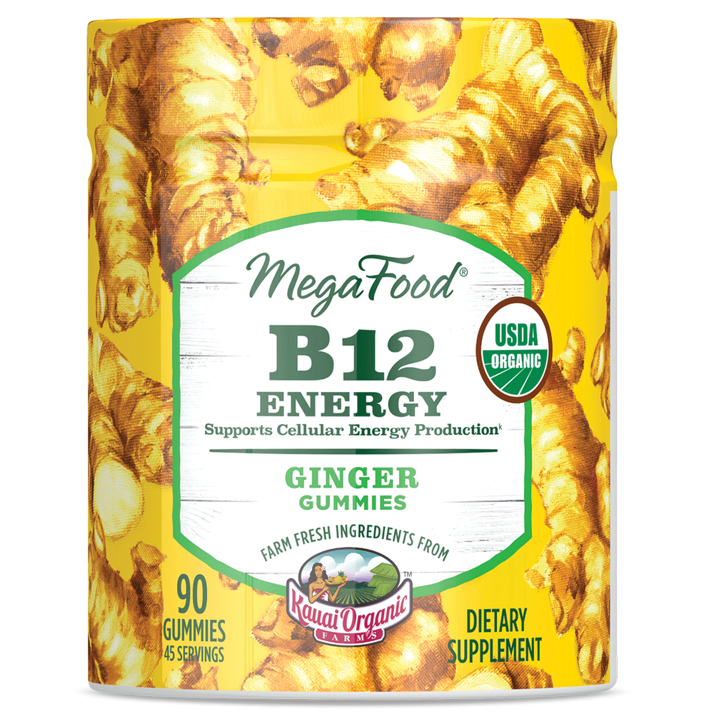 A jar of Megafood Gummy B12 Energy - Ginger