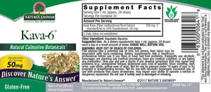 Label with Supplemental Facts for Nature's Answer Kava-6 Alcohol Free Kava Extract 1 Oz