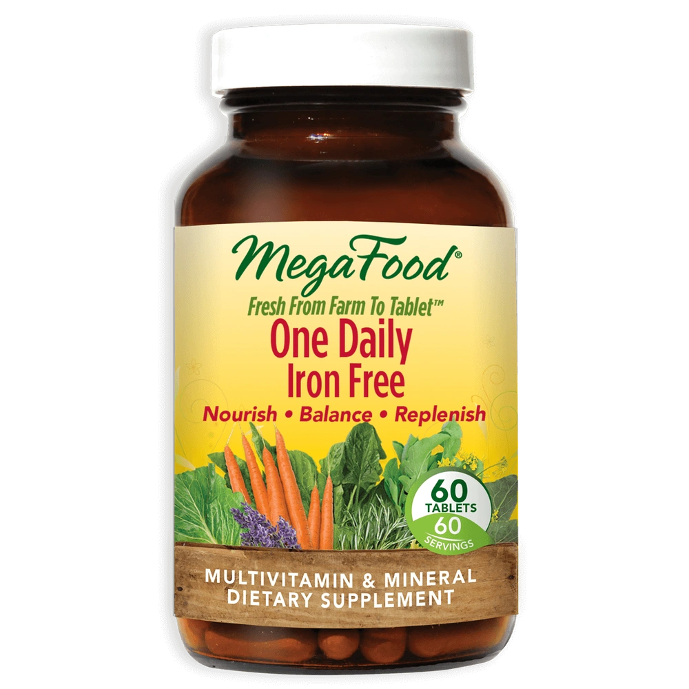 A bottle of Megafood One Daily Iron Free