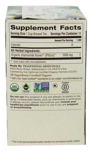Back of box with Supplemental Facts for Traditional Medicinals Organic Chamomile Tea