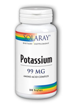 A bottle of Solaray Potassium 99 mg