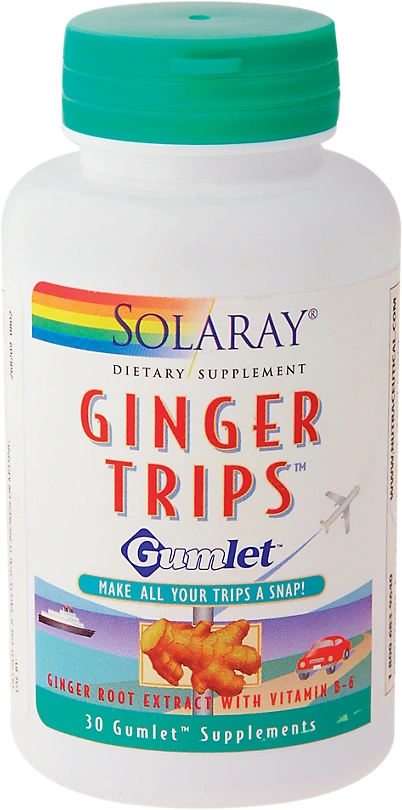 A bottle of Solaray Ginger Trips