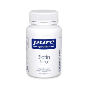A bottle of Pure Biotin 8 mg