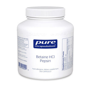 A bottle of Pure Betaine HCl Pepsin