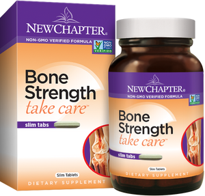 Package and bottle of New Chapter Bone Strength Take Care™ Slim Tablets