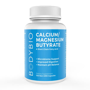 A bottle of Bodybio Calcium/Magnesium Butyrate