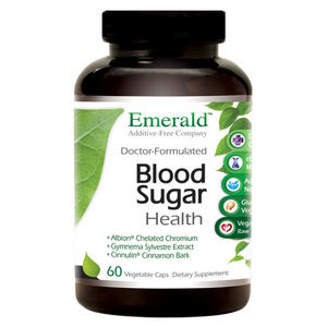 A jar of Emerald Blood Sugar Health