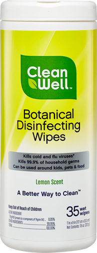 A tube of CleanWell Botanical Disinfecting Wipes (35 ct.)