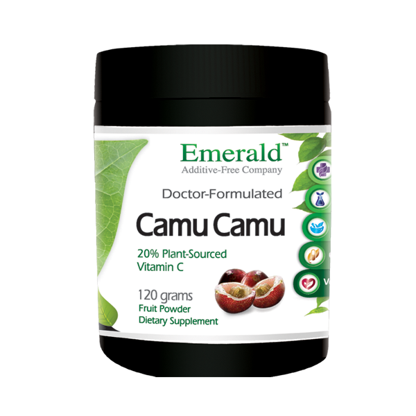 A jar of Emerald Camu-Camu Powder