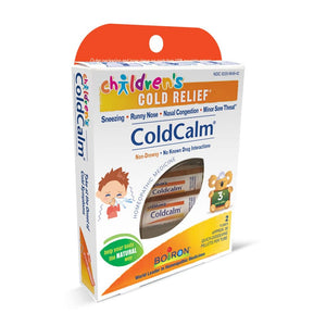 A package of Boiron Children's ColdCalm Pellets