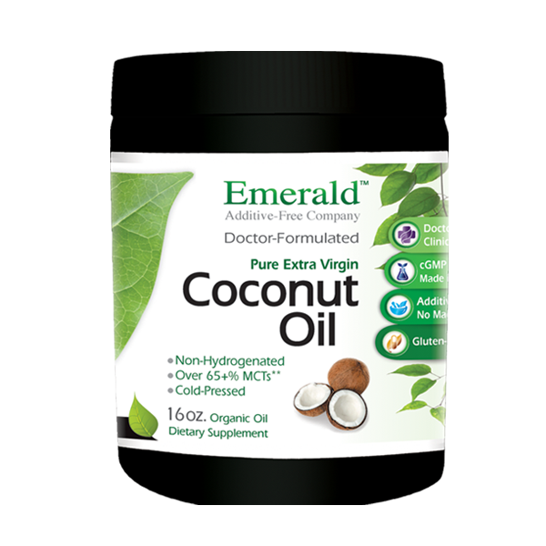 A jar of Emerald Coconut Oil Liquid - 16 oz