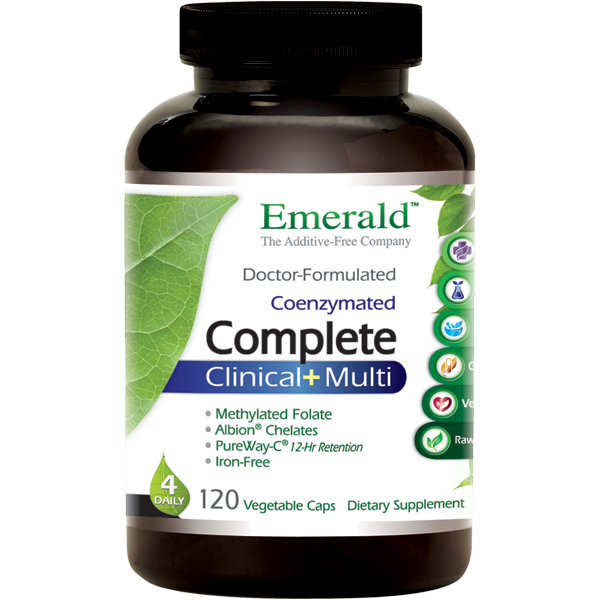 A jar of Emerald Complete Clinical+ Multi