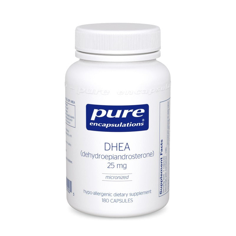 A bottle of Pure DHEA 25 mg
