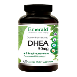 A bottle of Emerald DHEA + Pregnenolone