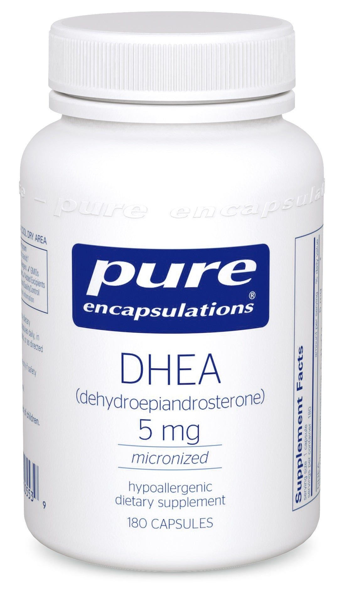 A bottle of Pure DHEA 5 mg