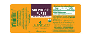 Label with additional info and supplemental facts for Herb Pharm Shepherd's Purse