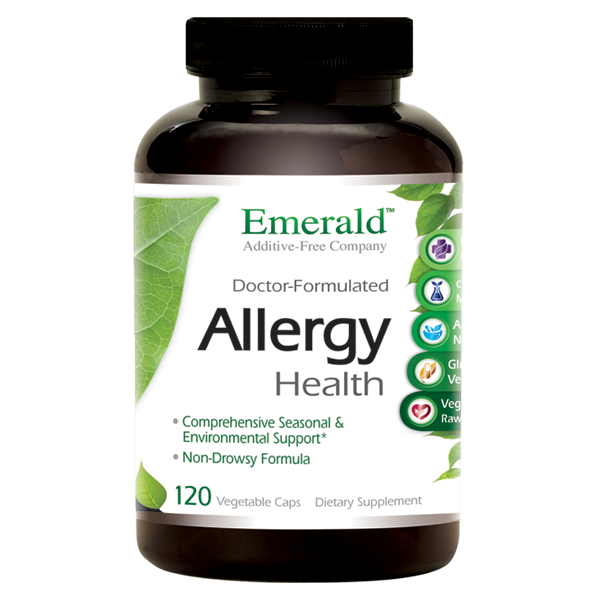 A bottle of Emerald Allergy Health