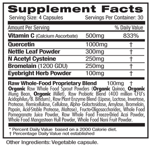 Supplement Facts for Emerald Allergy Health