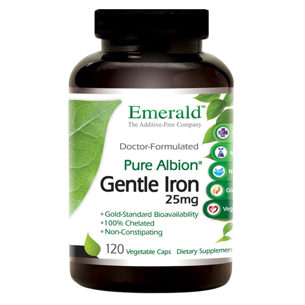 A bottle of Emerald Gentle Iron 25mg