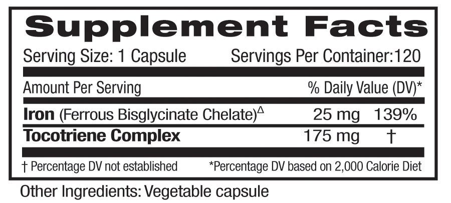 Supplement Facts for Emerald Gentle Iron 25mg