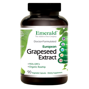 A bottle of Emerald European Grape Seed Extract