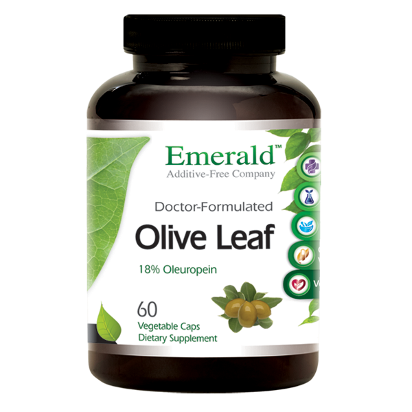 A bottle of Emerald Olive Leaf Extract