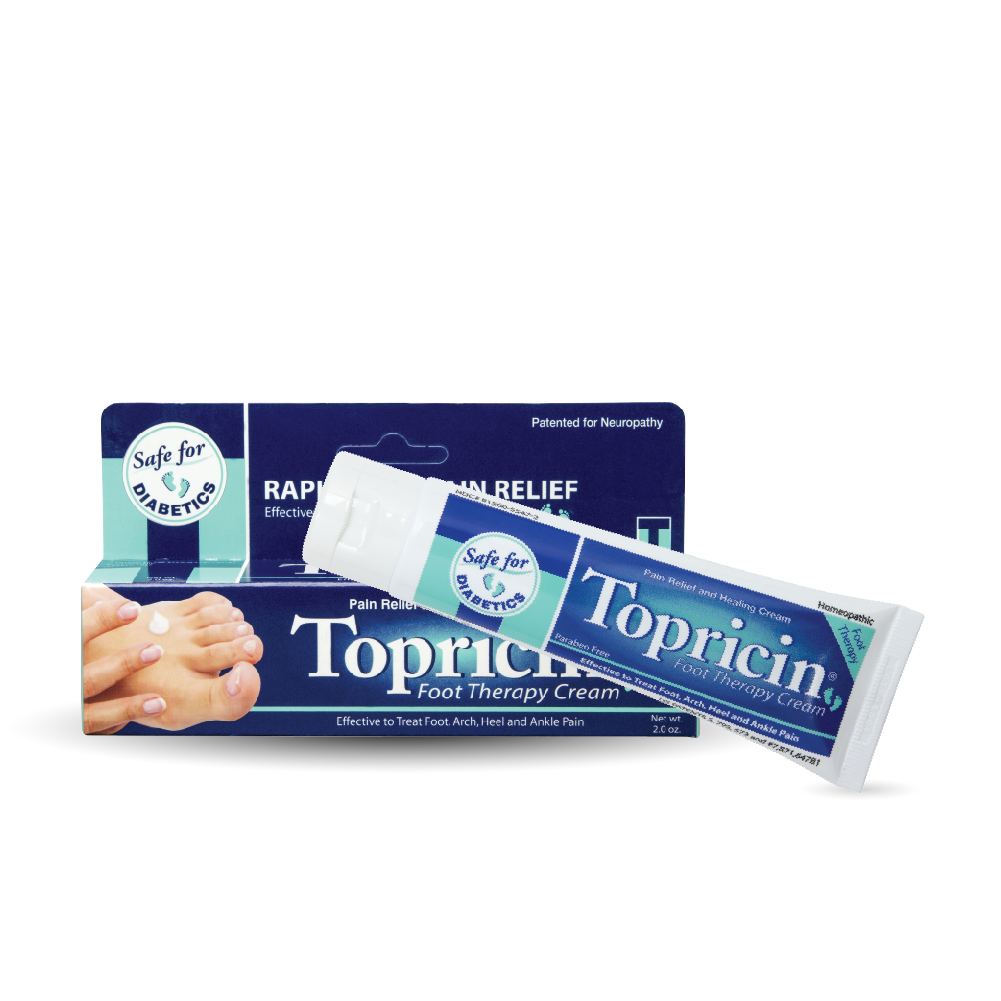A package of Topricin Foot Therapy Cream 2 oz