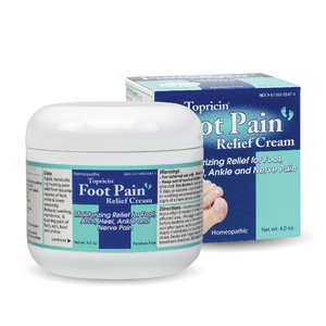 A jar and package of Topricin Foot Therapy Cream 4 oz