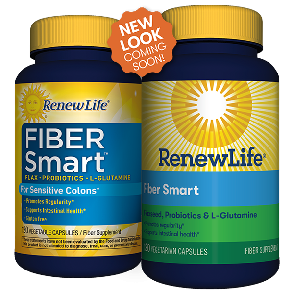 Two bottles of Renew Life Fiber Smart Capsules
