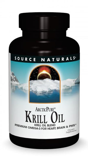 A bottle of Source Naturals Arctic Pure® Krill Oil 500 mg