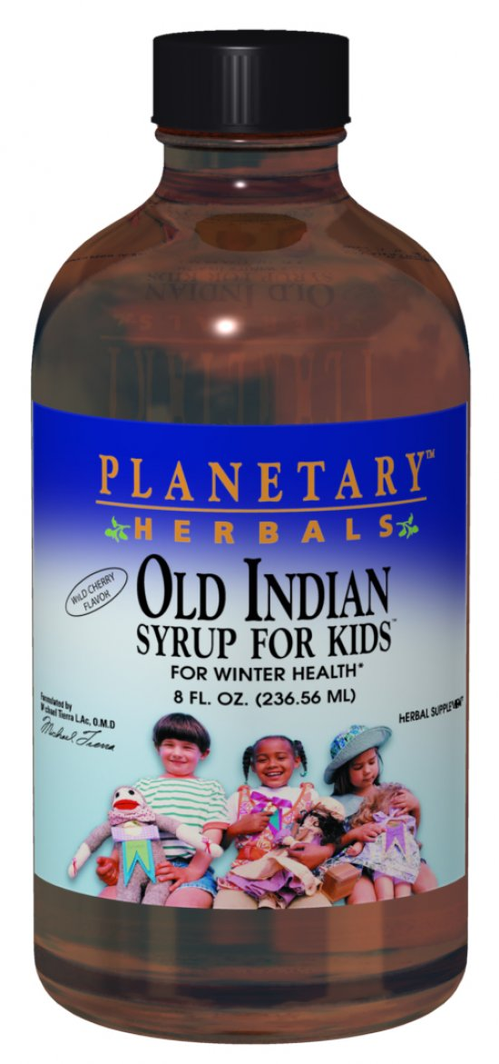 A bottle of Planetary Herbals Old Indian Syrup for Kids™ Cherry 4oz