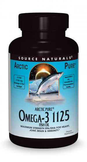 A bottle of Source Naturals Arctic Pure® Omega-3 1125 mg