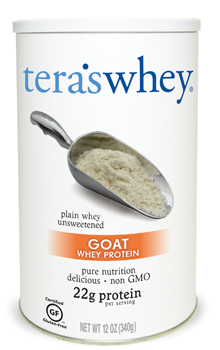 A jar of Tera's Plain Goat Whey (Unsweetened)