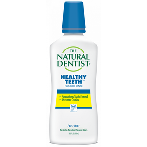 A bottle of Natural Dentist Healthy Teeth Anti-Cavity Rinse Fresh Mint