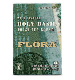 A box of Flora Holy Basil Tea