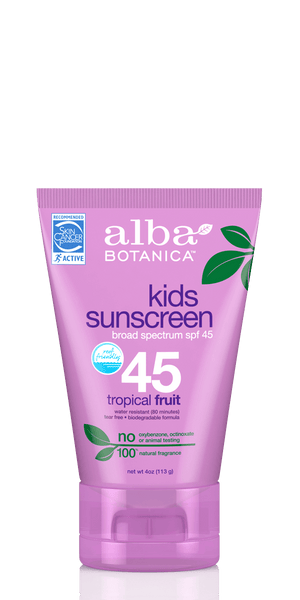 A tube of Alba Botanica Very Emollient Sunscreen Kids SPF45