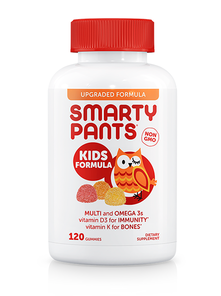 A bottle of Smartypants Kids Formula Multivitamin + Omega 3