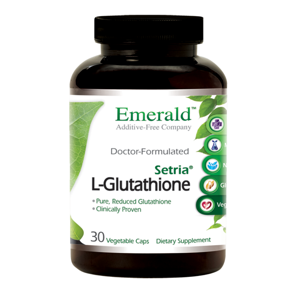 A bottle of Emerald L-Glutathione (Setria®) 250 mg
