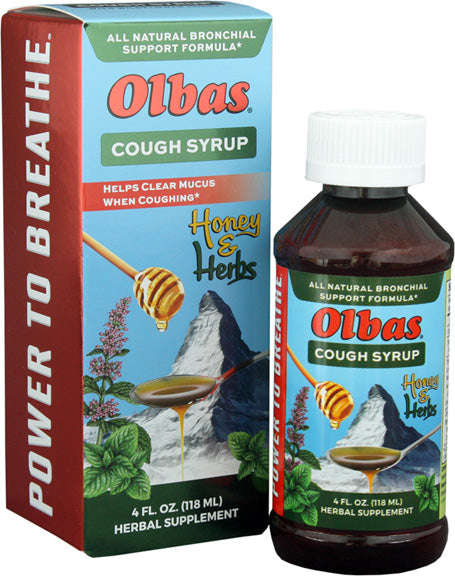 A package and bottle of Olbas Cough Syrup – 4 Fl. Oz.