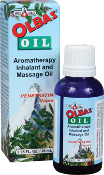 A package and bottle of Olbas Oil Aromatherapy Inhalant, Massage Oil – .95 Fl Oz