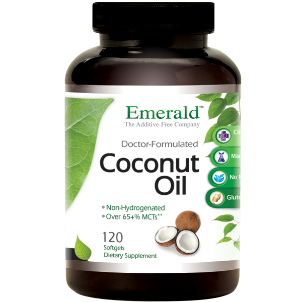 A bottle of Emerald Coconut Oil Softgels